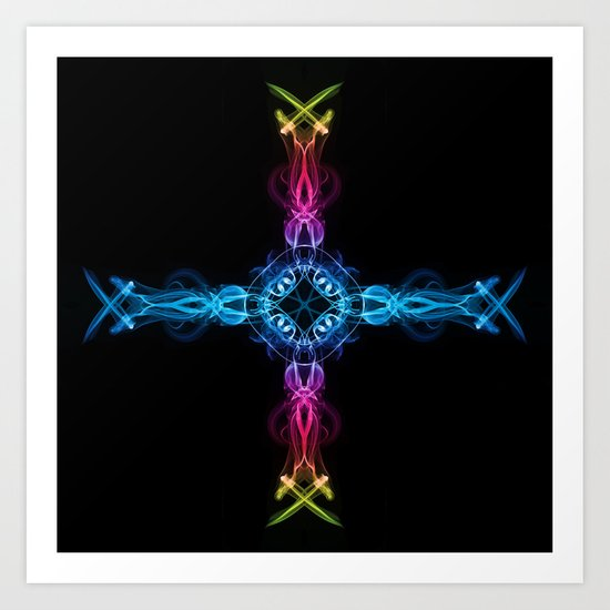 Smoke Cross 1 Art Print