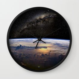 Space Station view of Planet Earth & Milky Way Galaxy Wall Clock