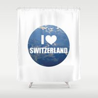 switzerland Shower Curtains featuring I Love Switzerland by Caroline Fogaça