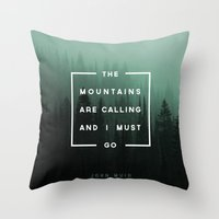 camp Throw Pillows featuring The Mountains are Calling by Zeke Tucker
