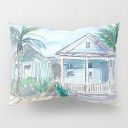 Key West Conch Dream House-Blue and Pastel Homes Pillow Sham