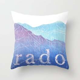Colorado Mountain Ranges_Pikes Peak + Continental Divide Throw Pillow
