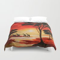 african Duvet Covers featuring African sunset by maggs326