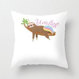 Unisloth -Distressed Magic Sloth Unicorn Design for Unicorn and Sloth Lovers Throw Pillow