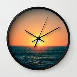 Sun setting in Portugal, Peniche. Wall Clock