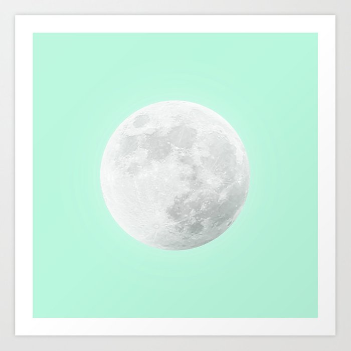 WHITE MOON + TEAL SKY Art Print