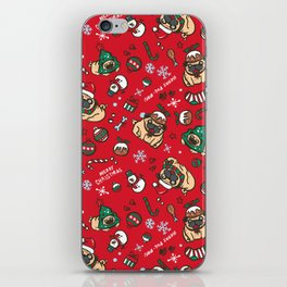 Christmas pattern with pugs iPhone Skin