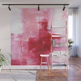 Ejaaz Haniff Abstract Acrylic Palette Knife Painting Red Pink Hues: 'Heart Beat' Wall Mural