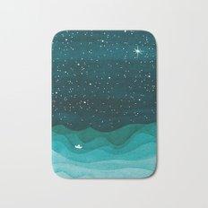 Starry Ocean, teal sailboat watercolor sea waves night Bath Mat