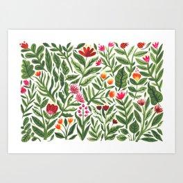 Big Red Gouache Florals Art Print