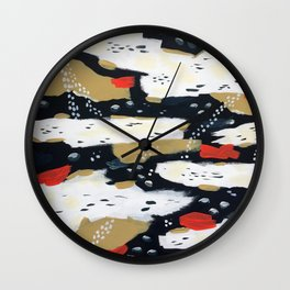 Spotted Abstract in Neutral Wall Clock
