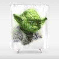 yoda Shower Curtains featuring Yoda by KitschyPopShop