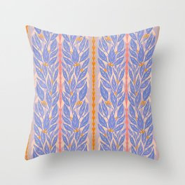 Blue Leaves on Lavender Throw Pillow