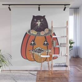 Ramen and cat in the pumpkin Wall Mural
