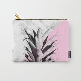 Pineapple Top Marble Pastel Pink Carry-All Pouch