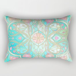 Floral Moroccan in Spring Pastels - Aqua, Pink, Mint & Peach Rectangular Pillow