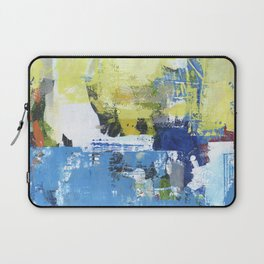 Parakeet Blue Yellow Abstract Art Laptop Sleeve