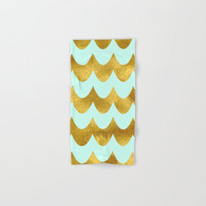 Mint Gold Foil 04 Hand & Bath Towel