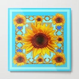 Blue Shades Yellow Sunflowers  Art Metal Print