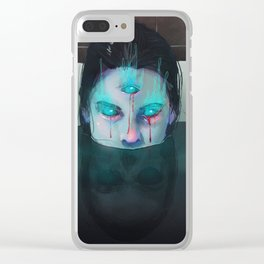 Demon in Bathtub Clear iPhone Case