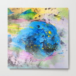 Rustic artistic abstract blue yellow pink watercolor brushstrokes Metal Print
