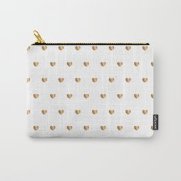 Small gold hearts pattern on white Carry-All Pouch
