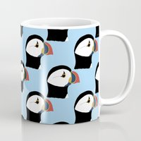 puffin Mugs featuring Puffin by stephpiddillustration