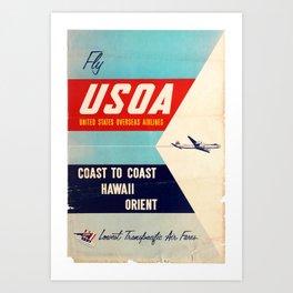 Nostalgia United States Overseas Airlines USOA Hawaii Orient Art Print