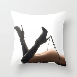 Sexy Woman Black Leather Boots and Thong Throw Pillow
