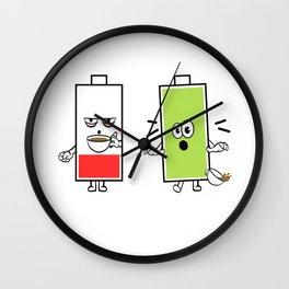 """Great Coffee T-shirt For Caffeine Lovers """"Before Coffee After Coffee"""" T-shirt Design Battery Energy Wall Clock"""