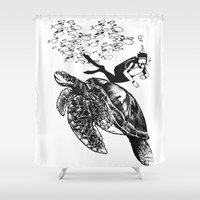 scuba Shower Curtains featuring Scuba Diving -Turtle by Adriana Shibata
