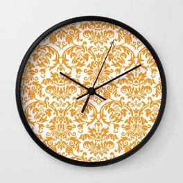 Elegant Damask Pattern (orange) Wall Clock
