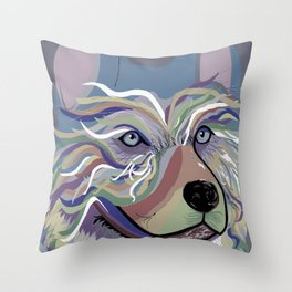 Husky in Denim Colors Throw Pillow