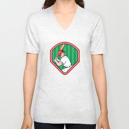 American Baseball Player Bat Diamond Cartoon Unisex V-Neck