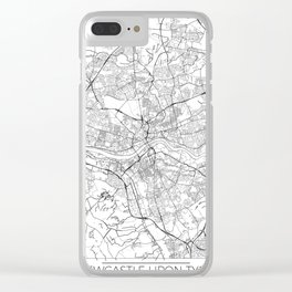Newcastle Upon Tyne Map White Clear iPhone Case