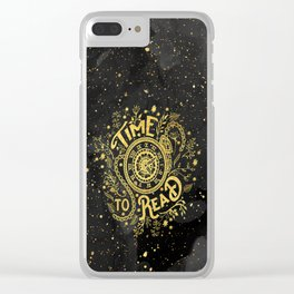 Time to Read - Gold Clear iPhone Case