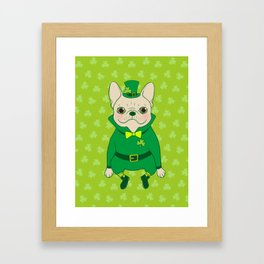Cute French Bulldog is Feeling Lucky on St. Patrick's Day Framed Art Print