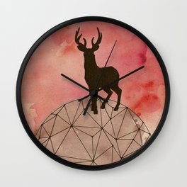 Deer on top of the world Wall Clock