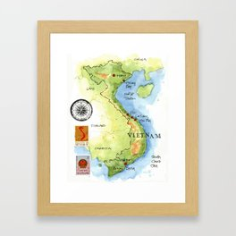 Vietnam Sketchbook Map Framed Art Print