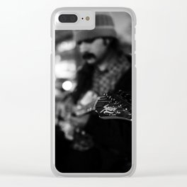 Solo guitar player, Street photography, print, black and white, wall art, decor, urban art Clear iPhone Case