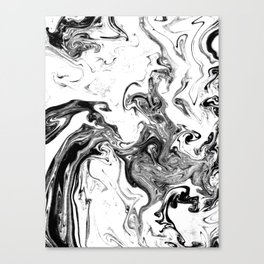 Suminagashi black and white marble spilled ink ocean swirl watercolor painting Canvas Print