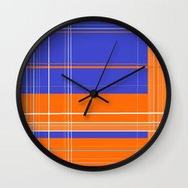 Orange and Blue Plaid Wall Clock