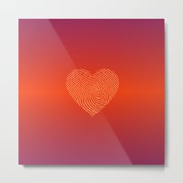HOT RED Ombre color HEART  Metal Print