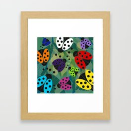 Rainbow Ladybirds Framed Art Print