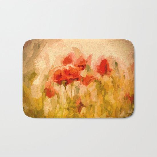 Fiery poppies in a golden cornfield Bath Mat