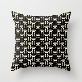 Yummy Food Bowl with Spoon & Fork Cutlery Pattern Throw Pillow