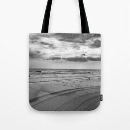 Driving on Assateague Island (Black and White) Tote Bag