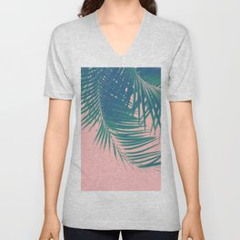 Palm Leaves Blush Summer Vibes #2 #tropical #decor #art #society6 Unisex V-Neck