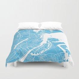 Copenhagen map blue Duvet Cover