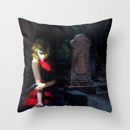 She Likes the Dead to Stay Dead Throw Pillow